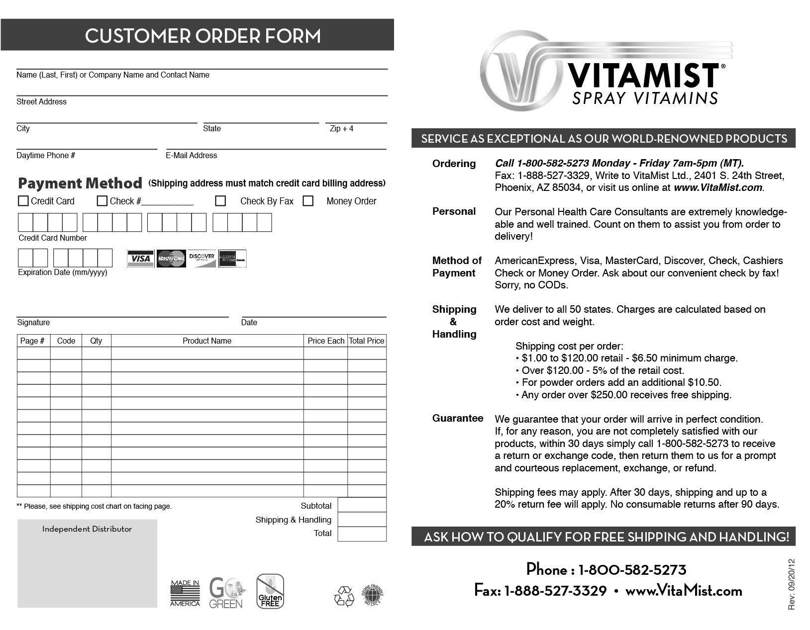 VitaMist Order Form 50 Pack